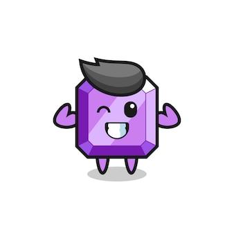 筋肉質の紫色の宝石のキャラクターがポーズをとって彼の筋肉、tシャツ、ステッカー、ロゴ要素のかわいいスタイルのデザインを示しています