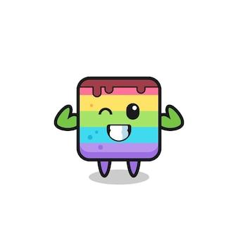 筋肉のレインボーケーキのキャラクターは、彼の筋肉、tシャツ、ステッカー、ロゴ要素のかわいいスタイルのデザインを見せてポーズをとっています