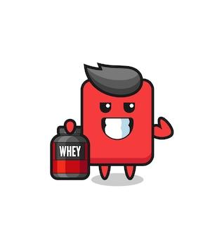 근육질의 레드 카드 캐릭터는 단백질 보충제, 티셔츠, 스티커, 로고 요소를 위한 귀여운 스타일 디자인을 들고 있습니다.