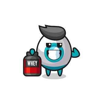 근육질 로켓 캐릭터는 단백질 보충제, 티셔츠, 스티커, 로고 요소를 위한 귀여운 스타일 디자인을 들고 있습니다