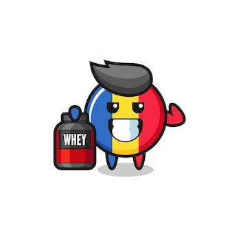 근육질의 루마니아 국기 배지 캐릭터는 단백질 보충제, 티셔츠, 스티커, 로고 요소를 위한 귀여운 스타일 디자인을 들고 있습니다
