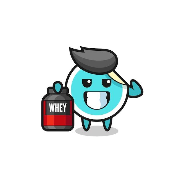 근육질의 스티커 캐릭터는 단백질 보충제, 티셔츠, 스티커, 로고 요소를 위한 귀여운 스타일 디자인을 들고 있습니다.