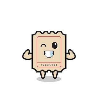 근육질 티켓 캐릭터는 근육을 보여주는 포즈를 취하고 있으며 티셔츠, 스티커, 로고 요소를 위한 귀여운 스타일 디자인