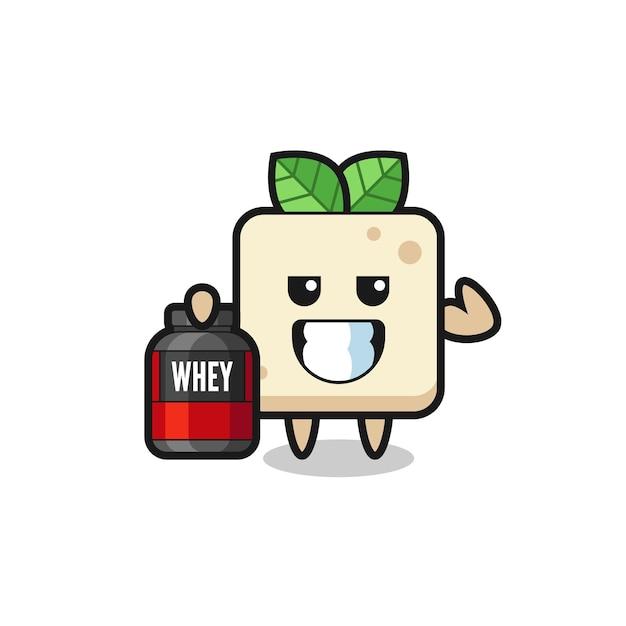 근육질의 두부 캐릭터는 단백질 보충제, 티셔츠, 스티커, 로고 요소를 위한 귀여운 스타일 디자인을 들고 있습니다.