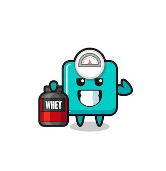 Персонаж с мышечной шкалой веса держит протеиновую добавку, симпатичный дизайн футболки, стикер, элемент логотипа