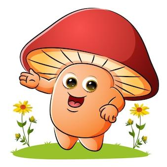 버섯이 삽화 정원에서 뭔가를 보여주고 있다