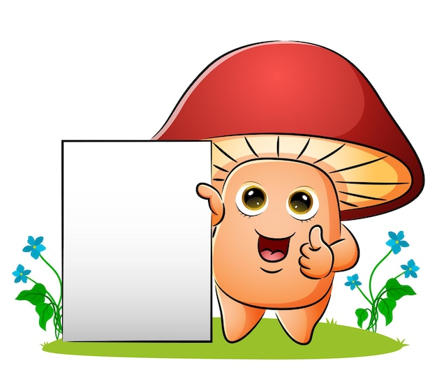 빈 보드가 있는 버섯이 삽화의 엄지손가락을 치켜들고 있다