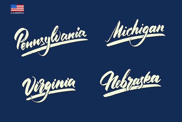 手書きのタイプのアメリカの州の名前。ベクトルイラスト