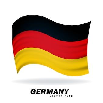 Государственный флаг германии. символ государства на волнистой шелковой ткани.