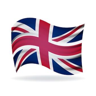Государственный флаг великобритании. символ государства на волнистой хлопчатобумажной ткани.