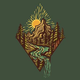 숲의 자연은 디테일이 있는 다이아몬드 모양이 됩니다. 산 뒤의 일몰과 하류에 강이 있는 많은 나무에는 폭포가 있습니다.