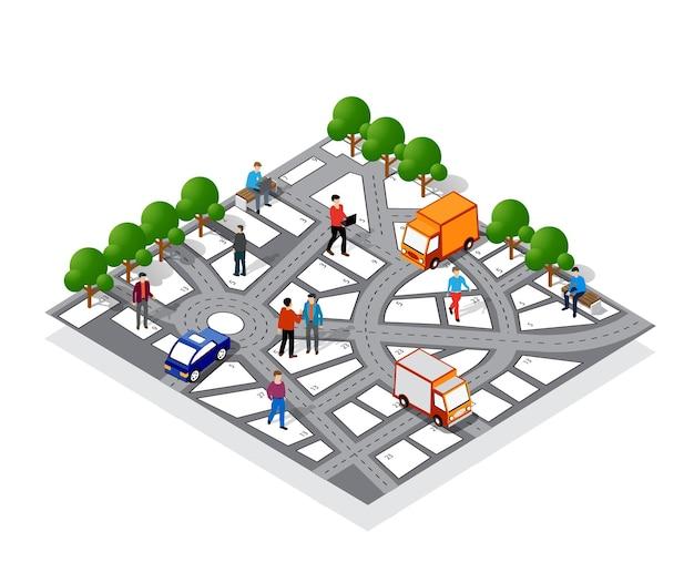 標識と動きの方向を備えた街のナビゲーションマップ