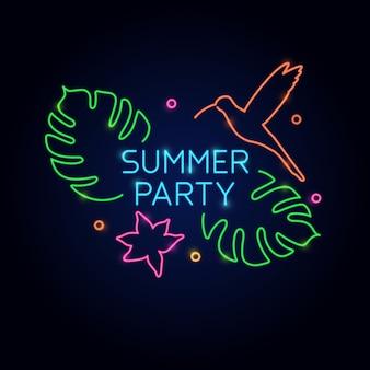 ネオンポスター夏のパーティー。