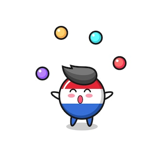 공을 저글링하는 네덜란드 국기 배지 서커스 만화, 티셔츠, 스티커, 로고 요소를 위한 귀여운 스타일 디자인