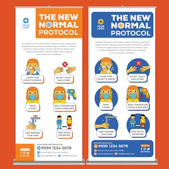 フラットデザインスタイルの新しい通常のポスター印刷テンプレート