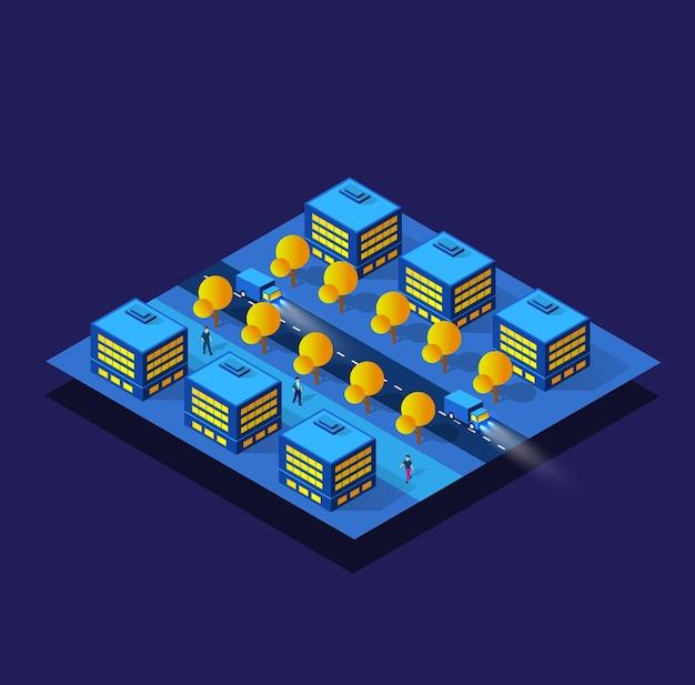 Ночь, неон, фиолетовый умный модуль, квартал, город, город, иллюстрация