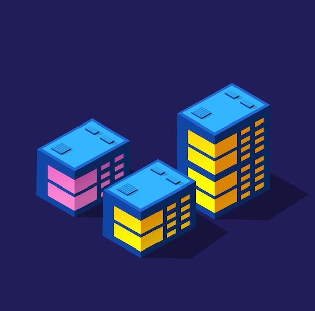 Ночной умный город 3d будущее неоновый ультрафиолетовый набор изометрических зданий городской инфраструктуры.