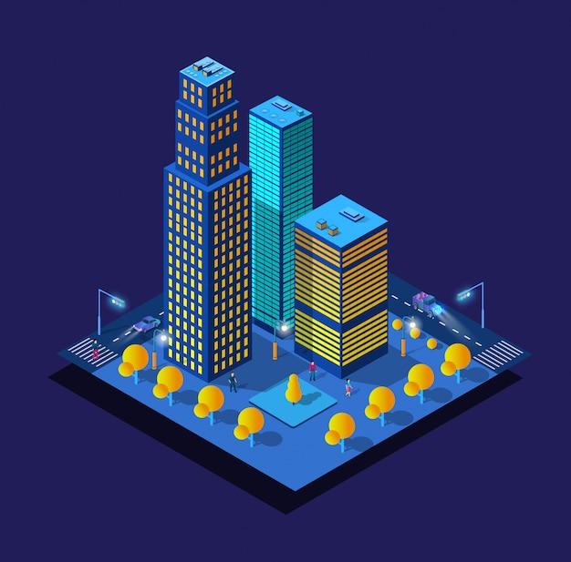 Ночной умный город будущего неоновый ультрафиолет