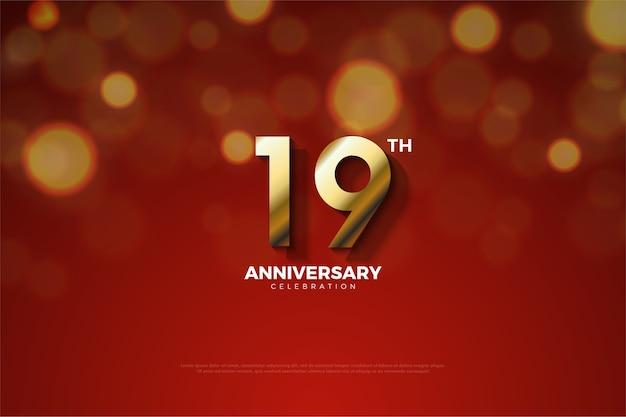 Девятнадцатая годовщина с небольшой тенью между цифрами