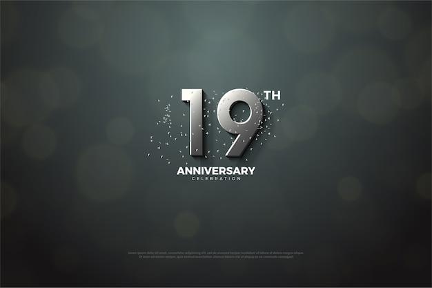 Девятнадцатая годовщина с серебряными цифрами