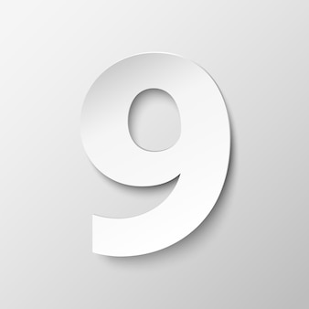 Цифра 9 в бумажном стиле. векторная иллюстрация с реалистичной тенью