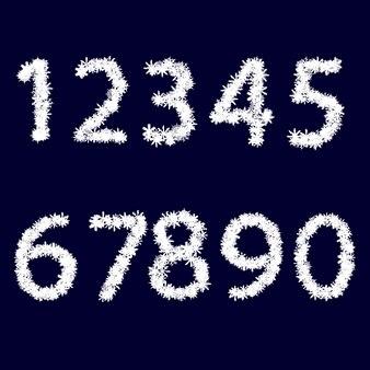 数字。白い雪片で作られています。紺色の背景に。クリスマスのデザイン。ベクトルイラスト。
