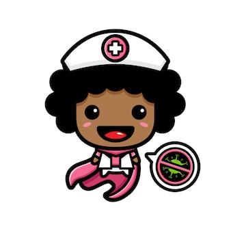 看護師のデザインは、ストップウイルスのシンボルを持つヒーローです