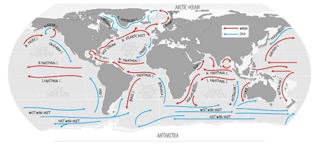 名前の付いた海流世界地図