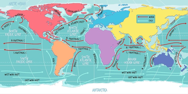 Текущая карта мира океана с именами