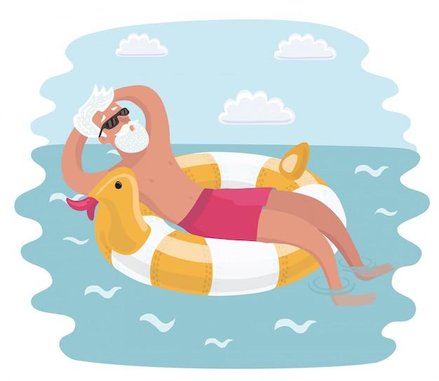 바다 해변에서 그의 강아지와 함께 조깅하는 노인. 애완 동물과 그의 주인의 만화 캐릭터. 다채로운 그림