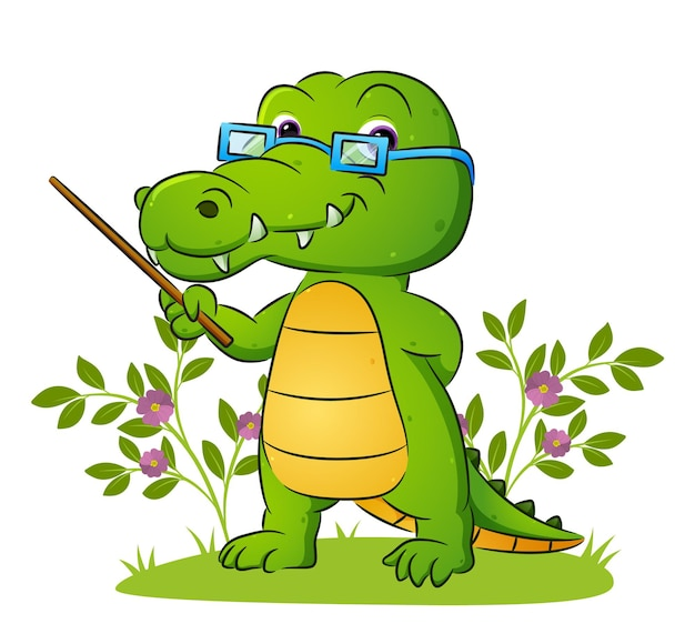 Старый учитель крокодила преподает во дворе иллюстрацию