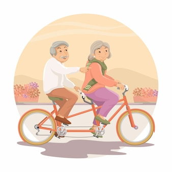 Пожилые люди. дедушка и бабушка вместе катаются на тандемном велосипеде