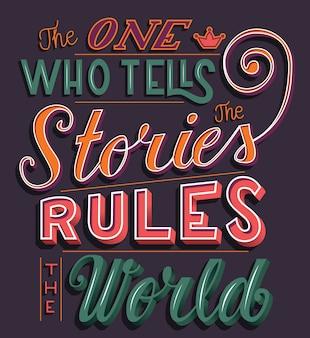物語を語る人が世界を支配する、手書き文字体裁現代ポスターデザイン