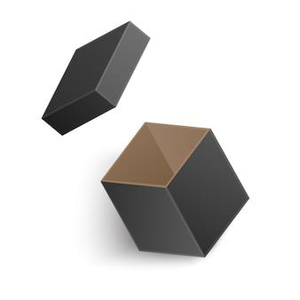 白い背景で隔離の開いたブラックボックス。図