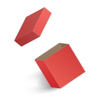 白い背景で隔離の開いた赤いボックス。図
