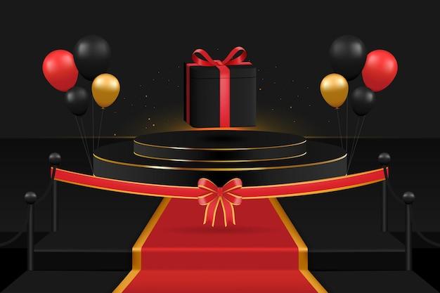 表彰台でのサプライズとしての賞品のオープニングバルーン、リボン、カーペット、ライトがあります