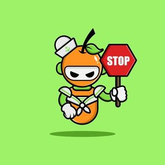 オレンジ色の海洋ロボットのキャラクターデザイン