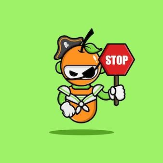 オレンジ色の海賊ロボットのキャラクターデザイン
