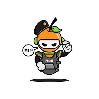 オレンジ色の警察ロボットのキャラクターデザイン