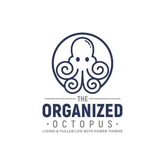 조직화된 문어 로고 디자인