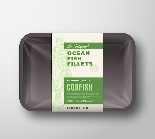 Оригинальная этикетка с абстрактным дизайном упаковки рыбного филе на пластиковом лотке с целлофановой крышкой. современная типография и рисованной трески силуэт фона макета.