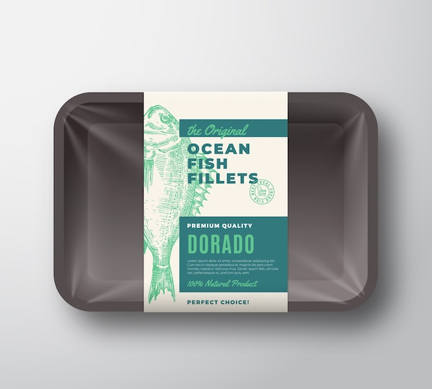 Оригинальная абстрактная этикетка для упаковки рыбного филе на пластиковом лотке с целлофановой крышкой.