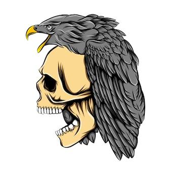 죽음의 해골 머리에 독수리 머리 장식
