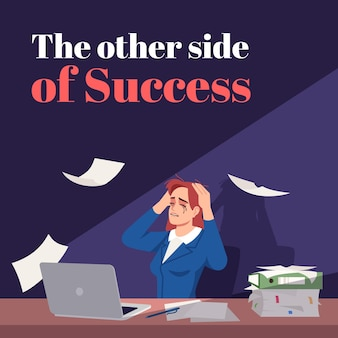 성공 소셜 미디어 포스트 모형의 다른 면. 직장에서 스트레스. 광고 웹 배너 디자인 템플릿입니다. 소셜 미디어 부스터, 콘텐츠 레이아웃. 판촉 포스터, 평면 삽화가 있는 인쇄 광고