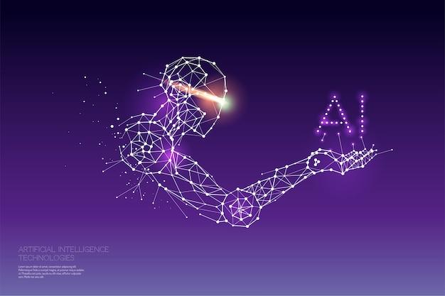Aiテクノロジーの粒子、幾何学的なアート、ライン、ドット。