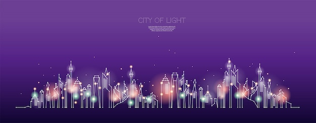 Частицы, геометрическое искусство, линия и точка ночного города.