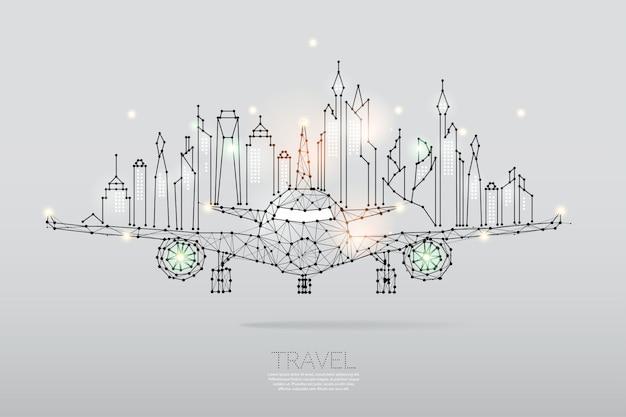 Частицы, геометрическое искусство, линия и точка города с воздушным самолетом