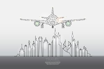 The particles, geometric art, line and dot of city with air plane