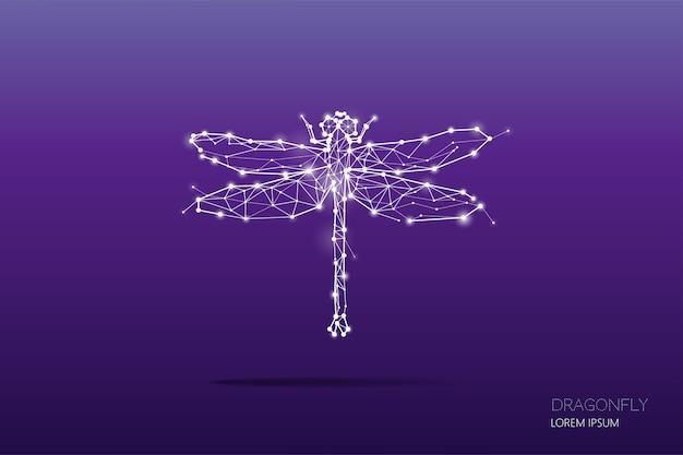 トンボの粒子、幾何学的なアート、ラインとドット