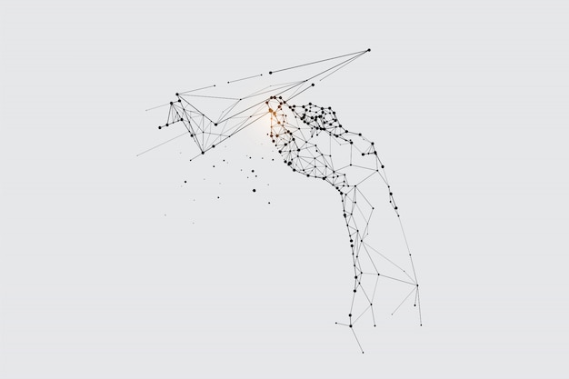 粒子、幾何学的な芸術、飛んでいる紙のロケットの線と点。